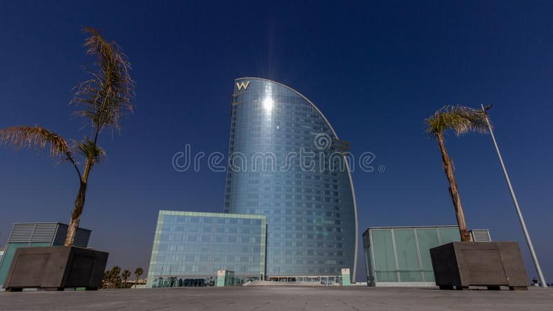 Barcelona, Spain - February 21, 2019 - Exterior of the W Hotel in the Barceloneta district. The building is also known as Hotel. Vela Sail Hotel stock images