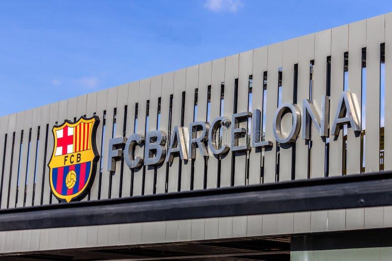 Barcelona, Spain - February 18, 2019 - FC Barcelona logo on exterior of Camp Nou stadium. The stadium is home to the local La Liga football team stock images