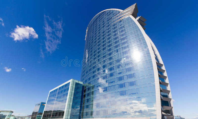 Barcelona, Spain - February 13, 2016: Frontal view of the W Barcelona Hotel, designed by Architect Ricardo Bofill.  royalty free stock photo