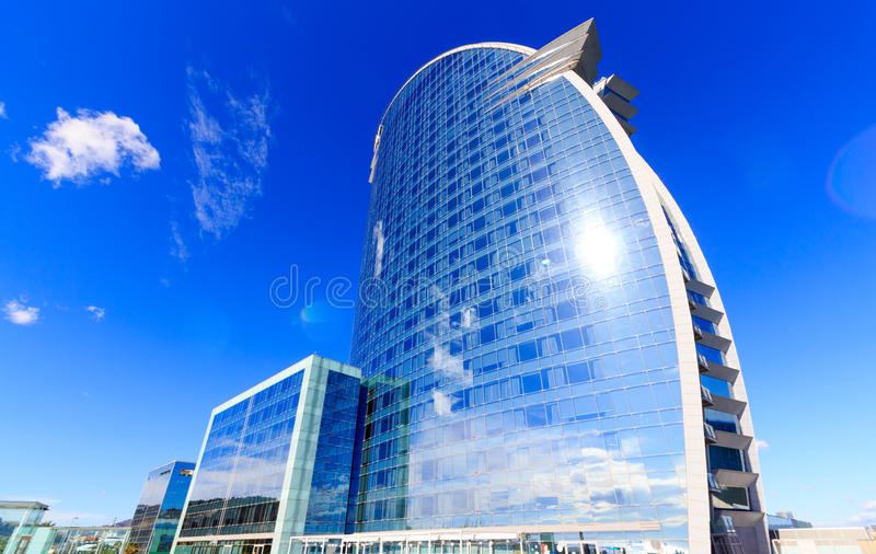 Barcelona, Spain - February 13, 2016: Frontal view of the W Barcelona Hotel, designed by Architect Ricardo Bofill.  royalty free stock photos