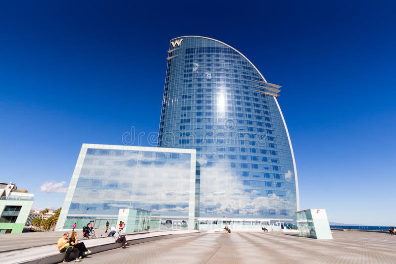 Barcelona, Spain - February 13, 2016: Frontal view of the W Barcelona Hotel, designed by Architect Ricardo Bofill.  stock photography