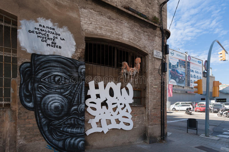 BARCELONA, SPAIN, february 2016- Graffiti on abandoned house in Poblenou district of Barcelona. BARCELONA, SPAIN, february 2016- Graffiti wall in Poblenou stock photo