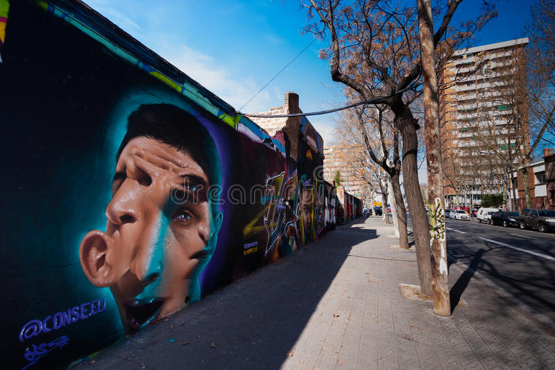 BARCELONA, SPAIN, february 2016- Graffiti wall in Poblenou. District of Barcelona royalty free stock photos