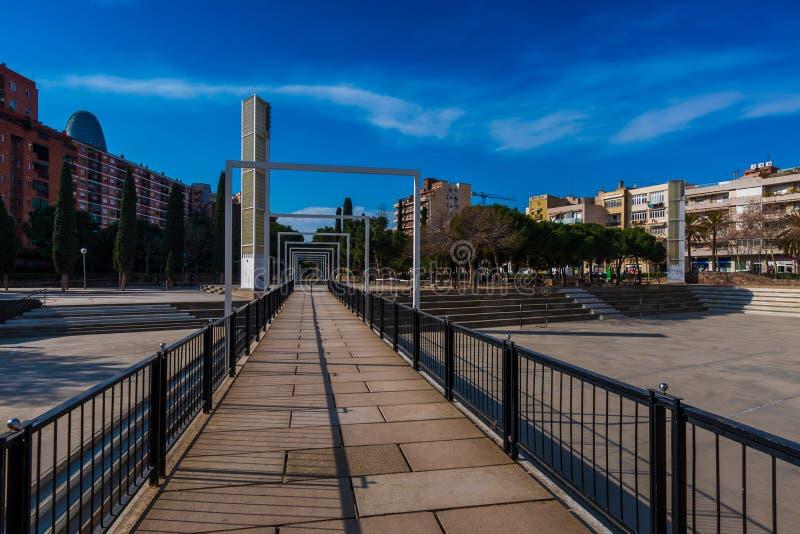 BARCELONA, SPAIN, february 2016-pedestrian bridge in Parc del Clot. On sunny day stock photos
