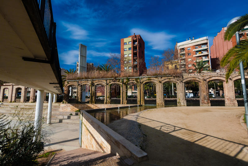 BARCELONA, SPAIN, february 2016-pedestrian bridge in Parc del Clot. On sunny day royalty free stock photos