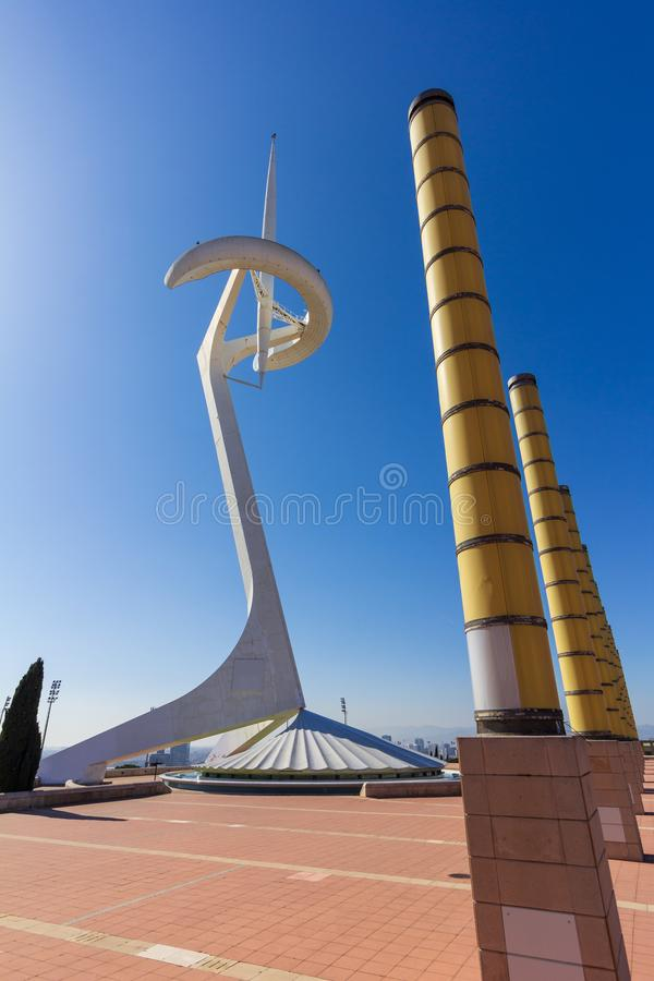 Barcelona, Spain - February 22, 2019 - Torre de Comunicacions de Montjuïc Monjuic Communications Tower was built for the 1992 royalty free stock image