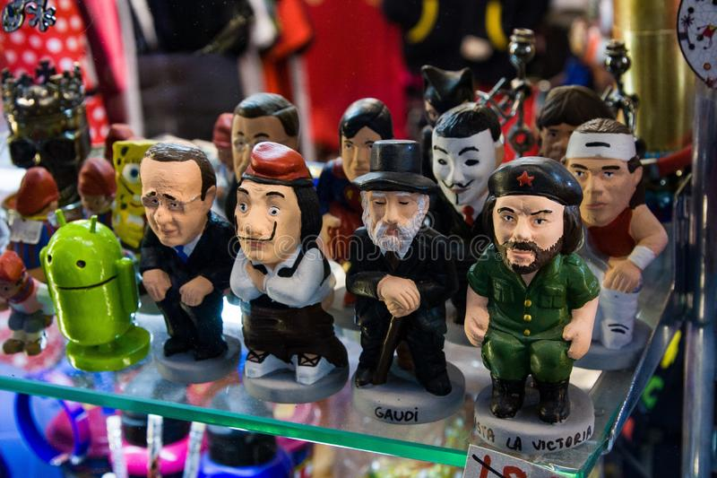 Caganers, originally character in Catalan mythology, now portraying famous celebrities or characters on sale stock image