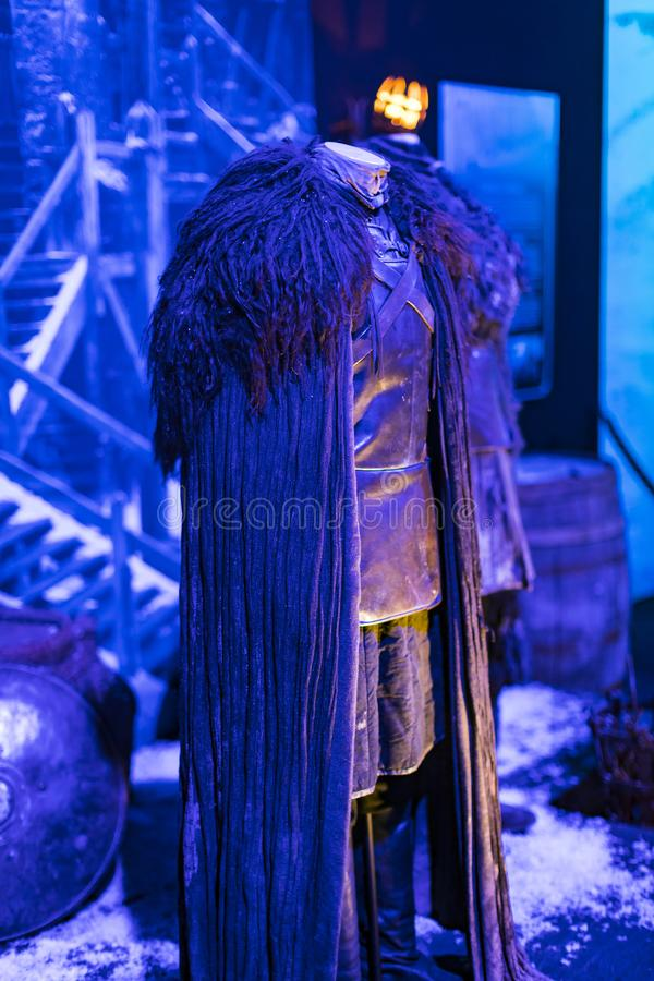 Original costumes of actors and props from the movie `The Game of Thrones` in the premises of the Maritime Museum of Barcelona. BARCELONA, SPAIN - 11 JANUARY royalty free stock images