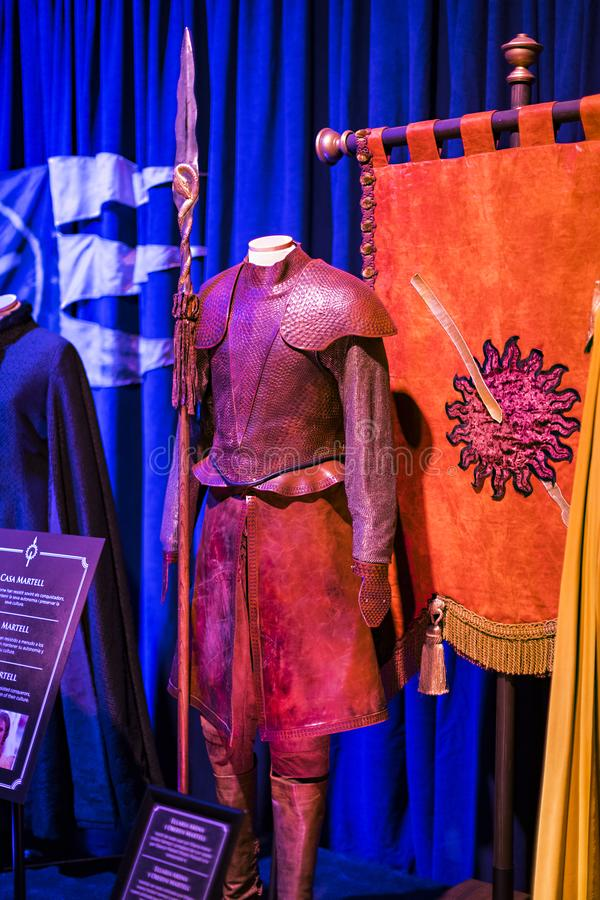Original costumes of actors and props from the movie `The Game of Thrones` in the premises of the Maritime Museum of Barcelona. BARCELONA, SPAIN - 11 JANUARY royalty free stock photos