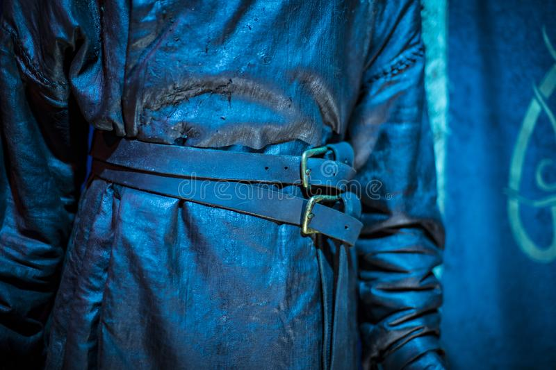 Original costumes of actors and props from the movie `The Game of Thrones` in the premises of the Maritime Museum of Barcelona. BARCELONA, SPAIN - 11 JANUARY royalty free stock image