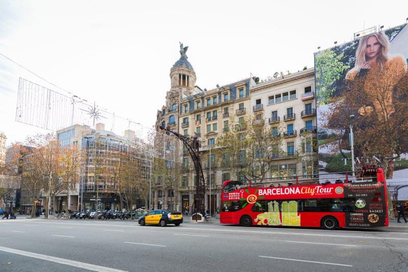 Passeig De Gracia shopping street. Barcelona Spain - January 01, 2017: Passeig De Gracia shopping street in Barcelona, Spain stock photos