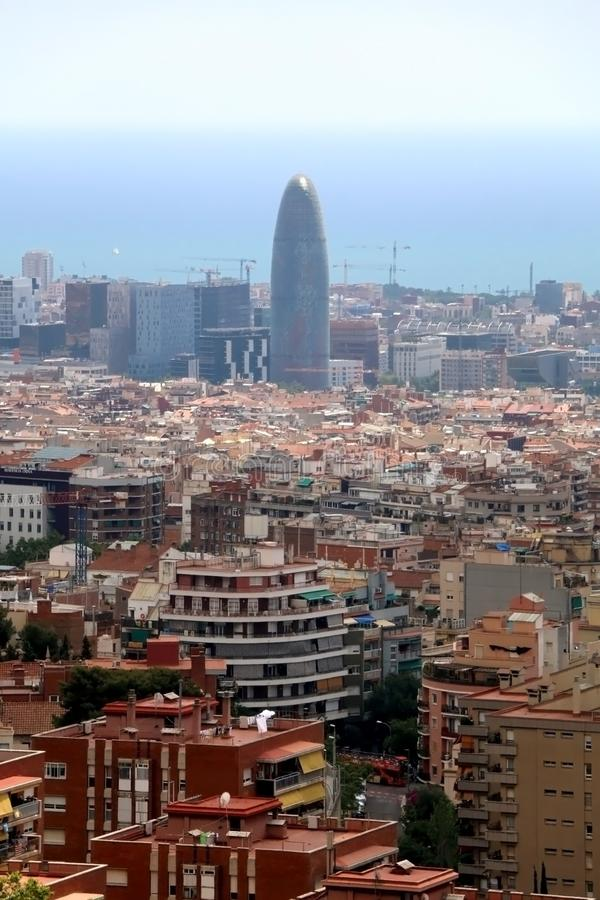 Architecture in Barcelona, Spain. Barcelona, Spain - July 6, 2018: Aerial view of Barcelona from Park Guell royalty free stock images
