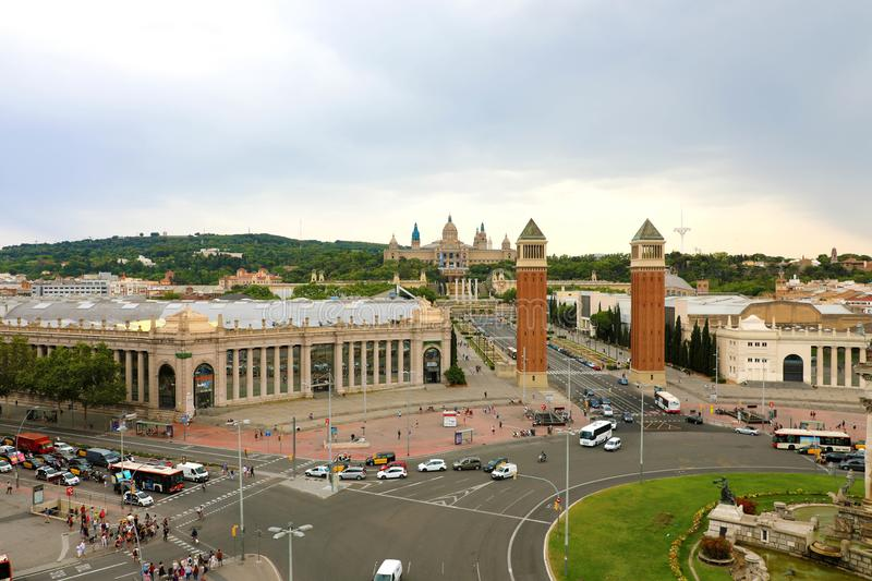 BARCELONA, SPAIN - JULY 13, 2018: aerial view of Placa d`Espanya. And National Art Museum in Barcelona, Catalonia, Spain stock photo