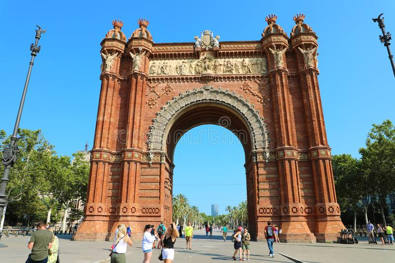 BARCELONA, SPAIN - JULY 11, 2018: The Arc de Triomf is a triumphal arch in the city of Barcelona in Catalonia, Spain. The arch is built in reddish brickwork in royalty free stock photos