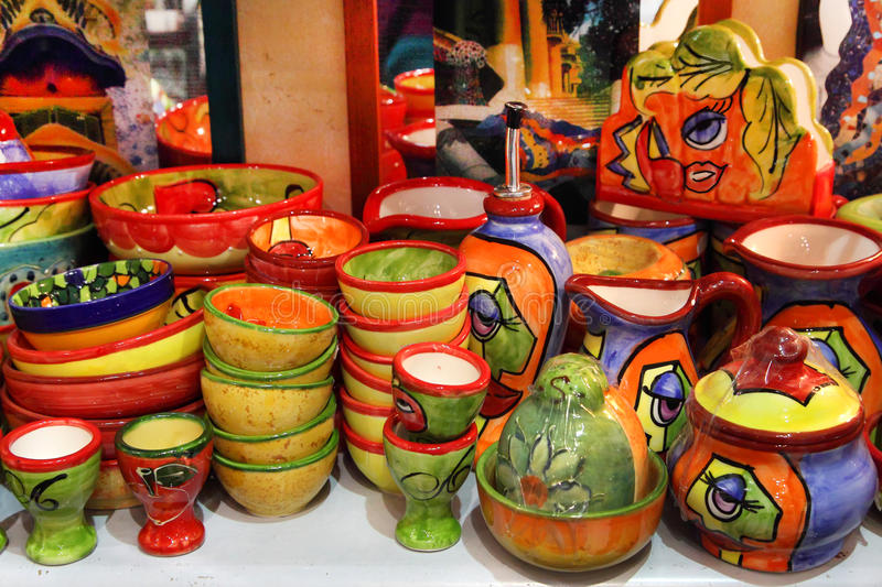 BARCELONA, SPAIN - JULY 8, 2014: Barcelona souvenirs at counter stock photography