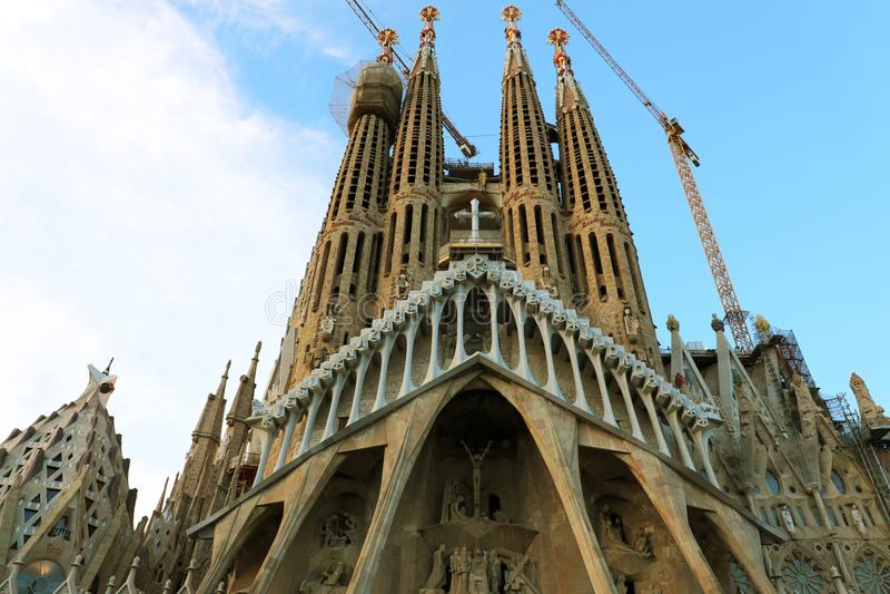 BARCELONA, SPAIN - JULY 12, 2018: The Basilica i Temple Expiatori de la Sagrada Familia. South facade of the Passion of Christ. Barcelona, Catalonia, Spain stock photography