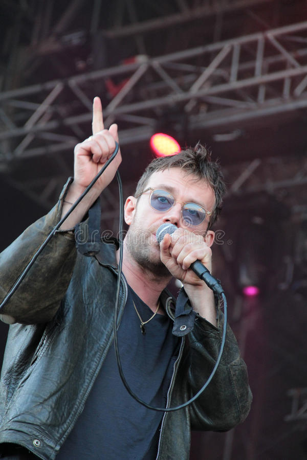 BARCELONA, SPAIN - JULY 11, 2014: Damon Albarn, singer from Blur and Gorillaz, performing live. His solo 2014 tour Robots in Cruilla Barcelona Festival royalty free stock photography