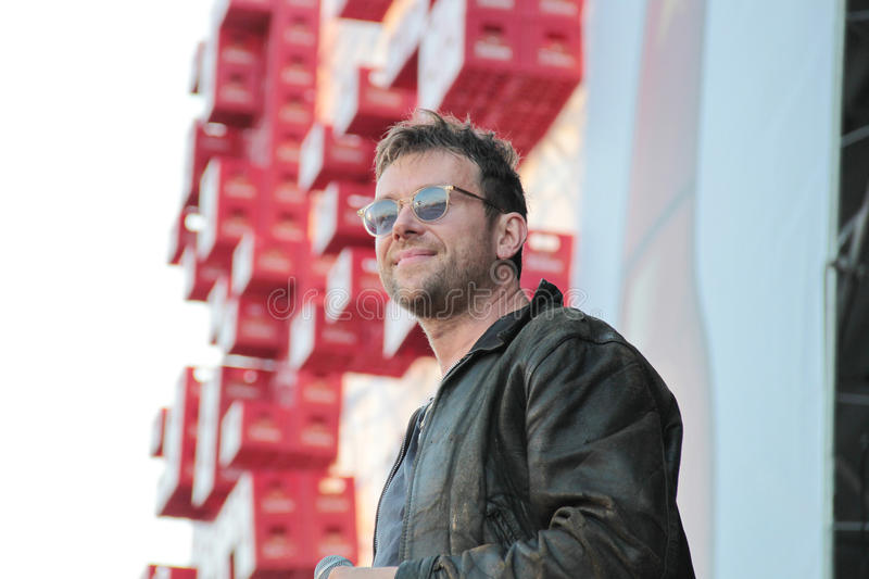 BARCELONA, SPAIN - JULY 11, 2014: Damon Albarn, singer from Blur and Gorillaz, performing live. His solo 2014 tour Robots in Cruilla Barcelona Festival royalty free stock photo