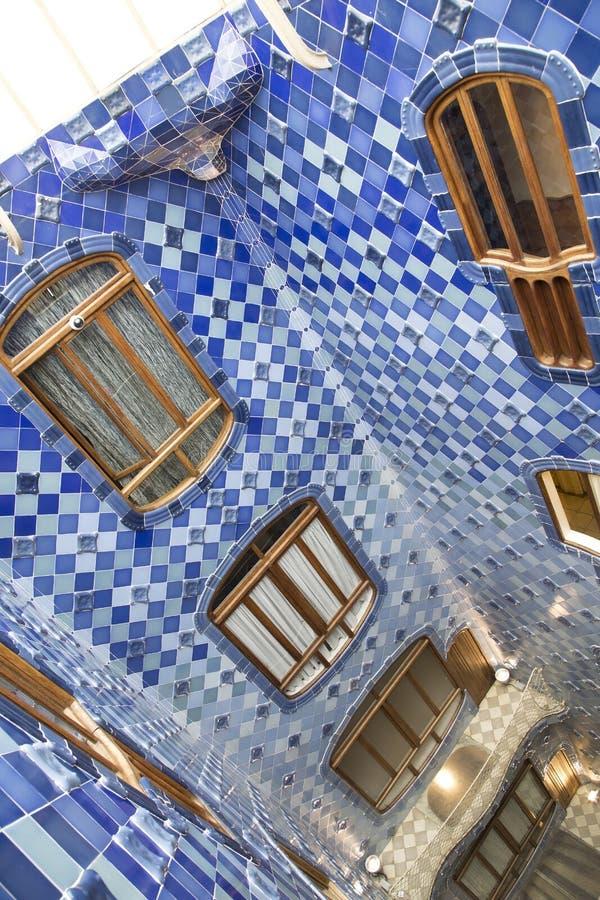 Inner facade of Casa Batllo. Decorative inner facade of Casa Batllo in Barcelona, Spain. The architectural masterpiece of Antonio Gaudi royalty free stock photography