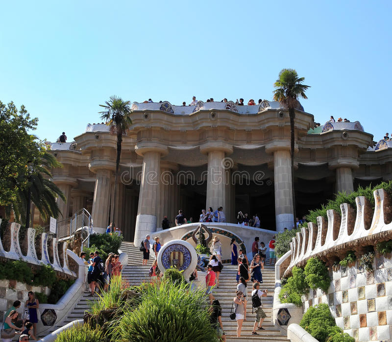 BARCELONA, SPAIN - JULY 8: The famous Park Guell on July 8, 2014 in Barcelona, Spain. The famous park, designed by stock image