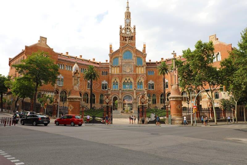 BARCELONA, SPAIN - JULY 13, 2018: former Hospital of the Holy Cross and Saint Paul Hospital de la Santa Creu i Sant Pau. Together with Palau de la Música stock photography