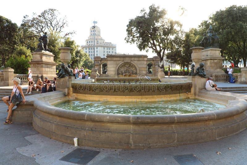 BARCELONA, SPAIN - JULY 12, 2018: fountain in Placa de Catalunya square, Barcelona, Spain.  royalty free stock photography