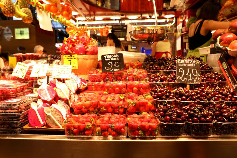 BARCELONA, SPAIN - JULY 13, 2018: fruits at La Boqueria Market, Barcelona, Catalonia, Spain royalty free stock photo