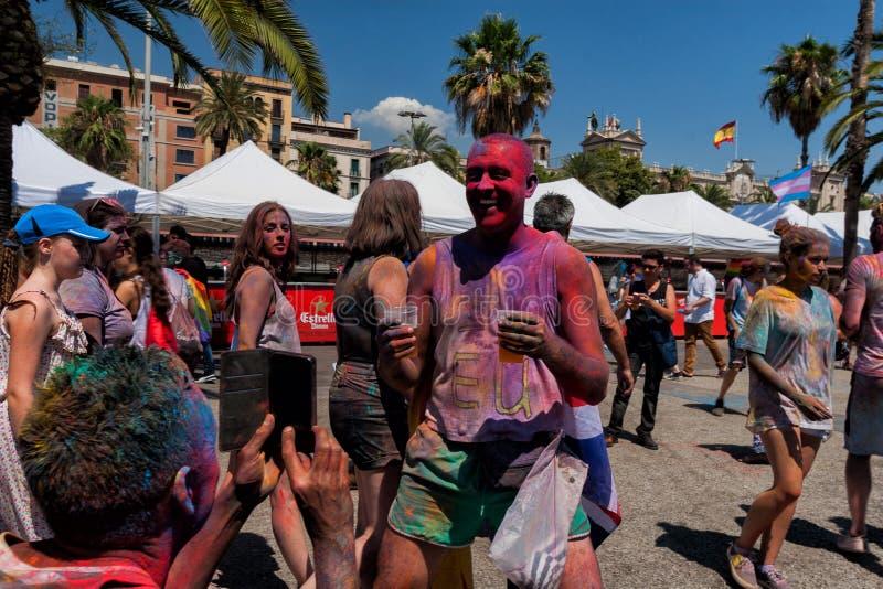 BARCELONA, SPAIN - JULY 9, 2016: Holi festival. At Escenario del Moll de la Fusta stock image