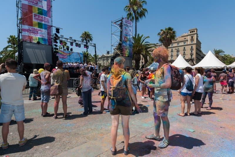 BARCELONA, SPAIN - JULY 9, 2014: Holi festival. BARCELONA, SPAIN - JULY 9, 2014:Visitors a front of stage at Holi festival at Escenario del Moll de la Fusta stock photography