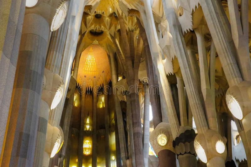 Barcelona, Spain - July 5, 2016: Interior stained glass, ceiling and lighting of La Sagrada Familia in Barcelona stock images