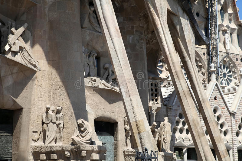 BARCELONA, SPAIN - JULY 8: La Sagrada Familia - the Cathedral de royalty free stock photography