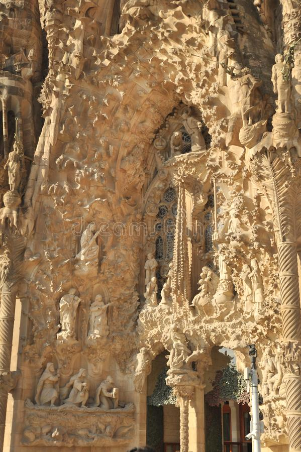 Barcelona, Spain - July 20, 2018 La Sagrada Familia, iconic landmark cathedral designed by Antoni Gaudi,  build since 1882, nativi royalty free stock photography
