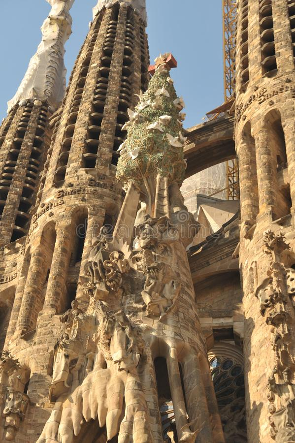 Barcelona, Spain - July 20, 2018 La Sagrada Familia, iconic landmark cathedral designed by Antoni Gaudi,  build since 1882, nativi stock image