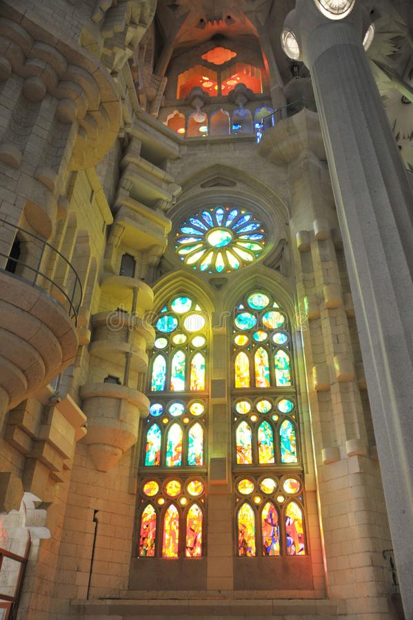 Barcelona, Spain - July 20, 2018 La Sagrada Familia, iconic landmark cathedral designed by Antoni Gaudi,  build since 1882, sun sh royalty free stock photo