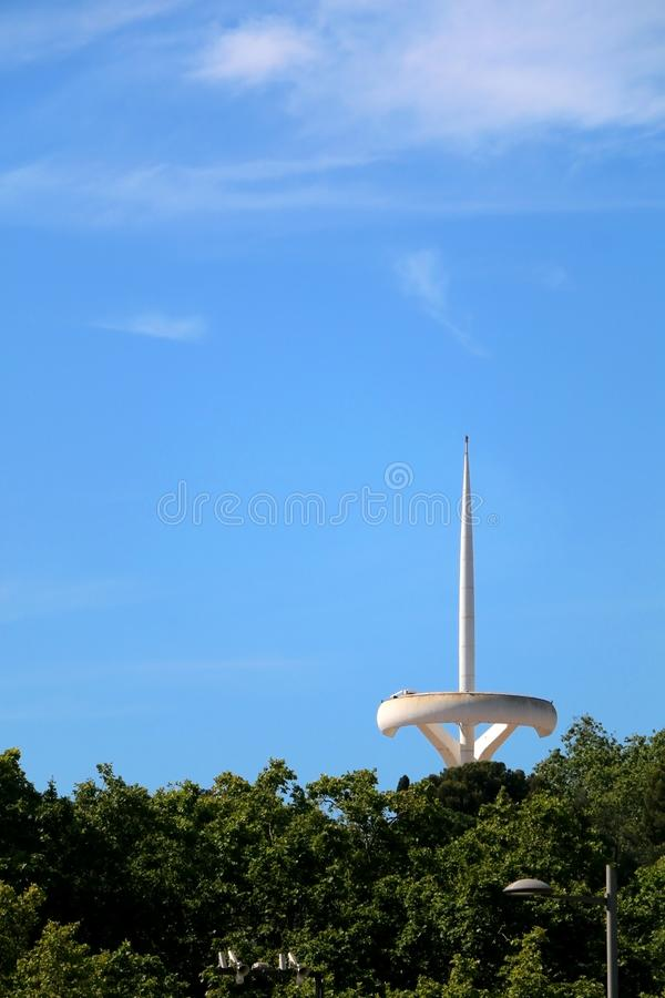 Architecture in Barcelona, Spain. Barcelona, Spain - July 8, 2018: The Montjuïc Communications Tower, also known as Torre Calatrava or Torre Telefónica, is royalty free stock image