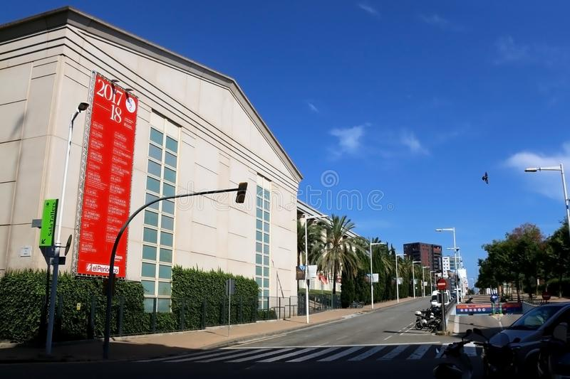 Architecture in Barcelona, Spain. Barcelona, Spain - July 7, 2018: National Theatre of Catalonia, landmark in Barcelona, Spain royalty free stock images