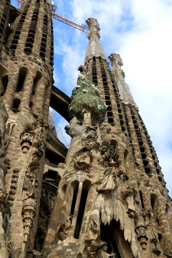 Architecture in Barcelona, Spain. Barcelona, Spain - July 6, 2018: Nativity facade of Sagrada Familia - famous cathedral in Barcelona, Spain designed by Antoni royalty free stock photography