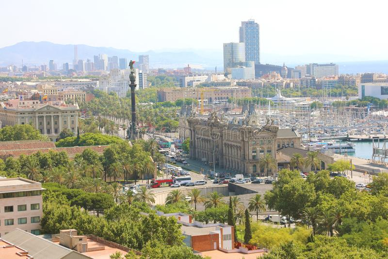 BARCELONA, SPAIN - JULY 12, 2018: panoramic view of Barcelona with Portal de la pau square, Port Vell marina and Columbus Monument. In Barcelona, Catalonia stock images