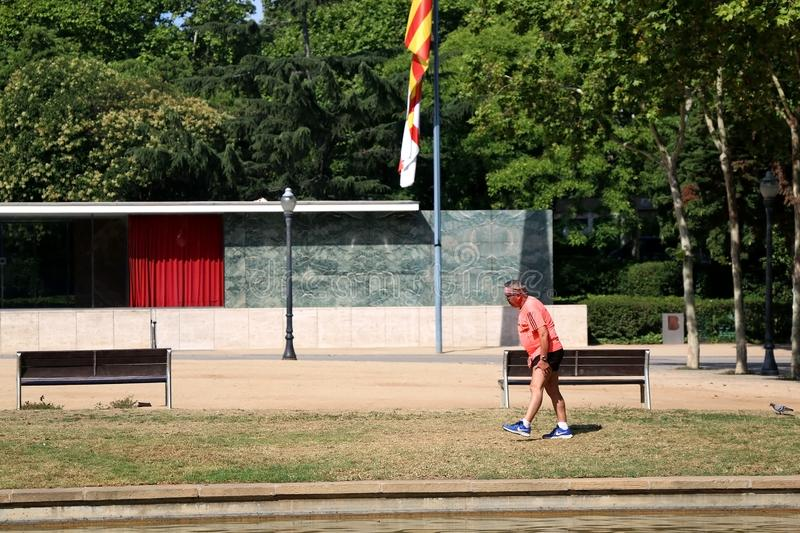 Architecture in Barcelona, Spain. Barcelona, Spain - July 8, 2018: Barcelona Pavilion, designed by Ludwig Mies van der Rohe in Barcelona, Spain. Senior man stock photos