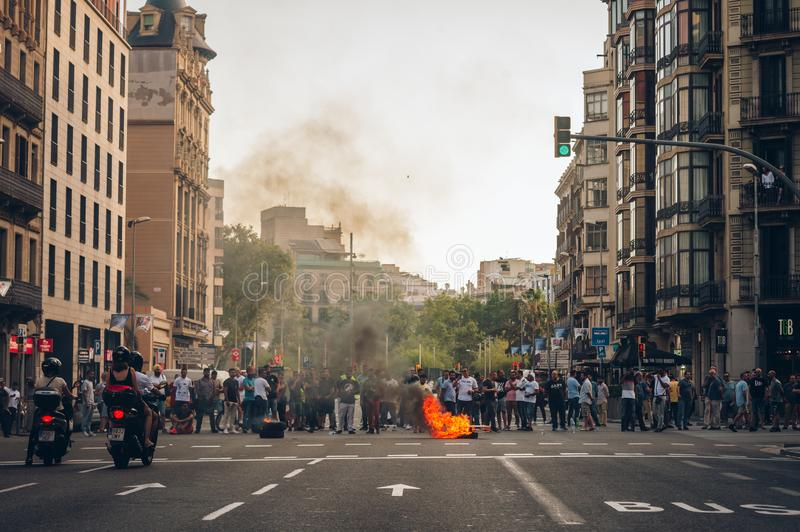 Barcelona, Spain - July 27, 2018: Taxi strike over Uber and Cabify. royalty free stock photo