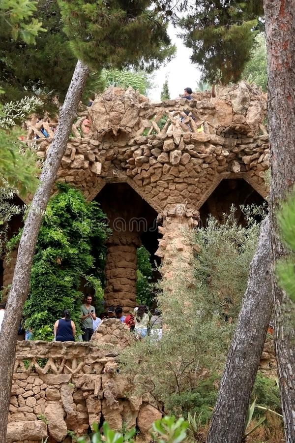 Barcelona, Spain. July 6, 2018: Visitors at The Park Güell, famous landmark designed by Antoni Gaud royalty free stock photography