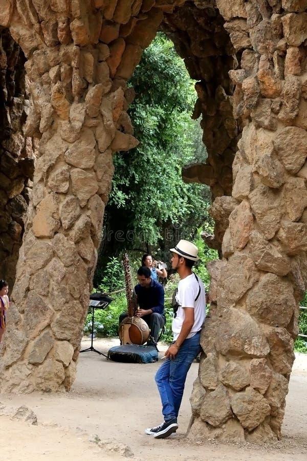 Barcelona, Spain. July 6, 2018: Visitors at The Park Güell, famous landmark designed by Antoni Gaud stock photos