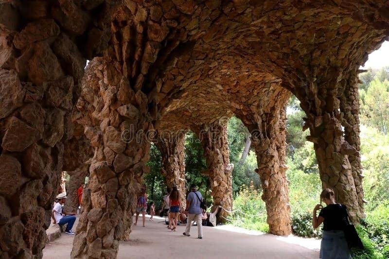 Barcelona, Spain. July 6, 2018: Visitors at The Park Güell, famous landmark designed by Antoni Gaud stock image