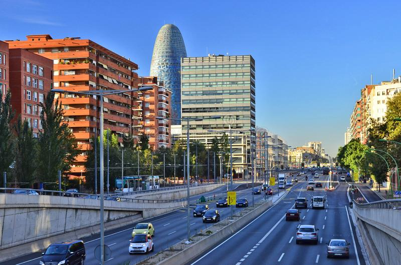 Modern highway and architecture Barcelona Spain royalty free stock photos