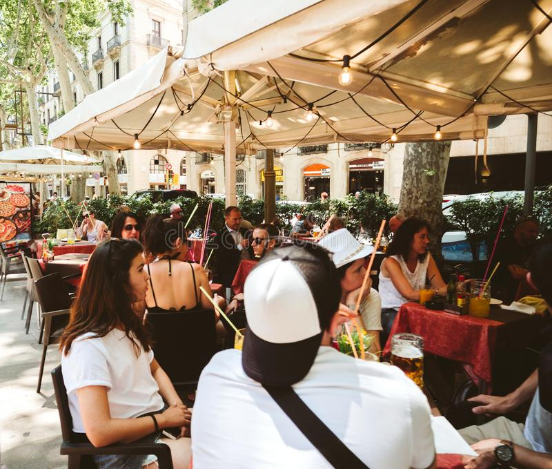 Rambla cafe lunch terrace with people royalty free stock photos