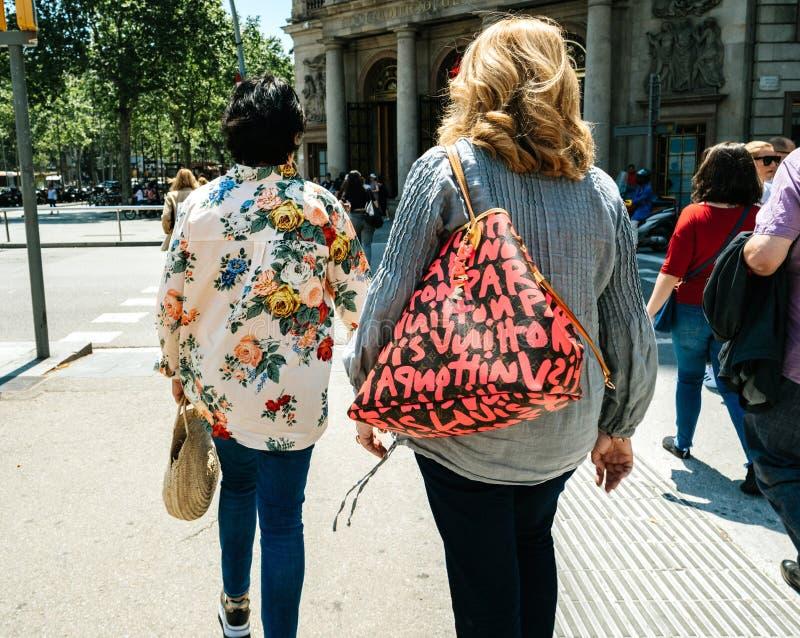 Two women fashion clothes Barcelona stock photo