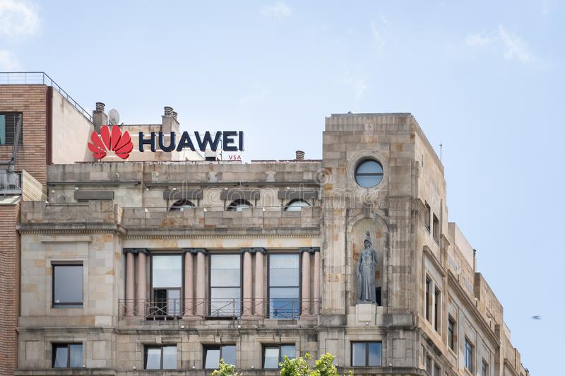 Barcelona, Spain. June 2019: Huawei Technologies Ad sing in a building on Plaza Catalunya. royalty free stock photos