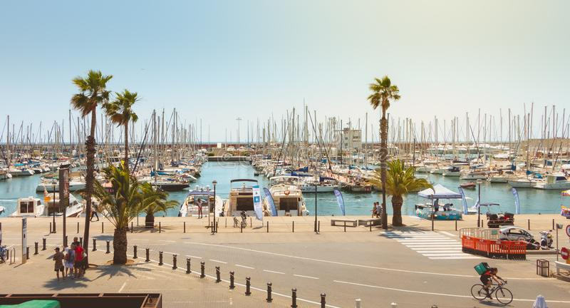 overview of the Olympic Port of Barcelona, a marina opened in 1991 that hosted the boat competitions during the 1992 Summer royalty free stock image