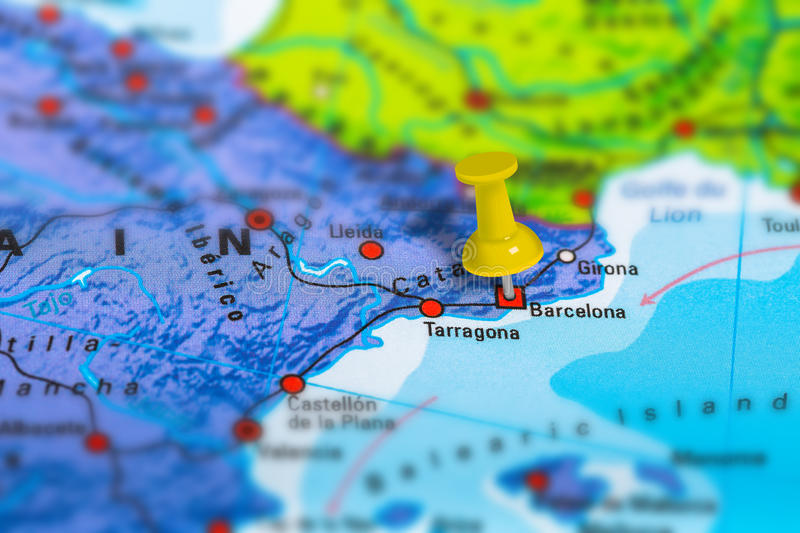 Barcelona Spain map. Barcelona in Spain pinned on colorful political map of Europe. Geopolitical school atlas. Tilt shift effect royalty free stock images