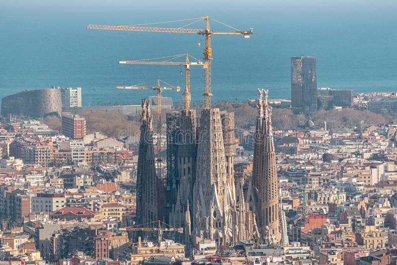 Barcelona, Spain -March 16, 2019: Aerial panoramic view of Barcelona city skyline and Sagrada familia in Spain stock photo